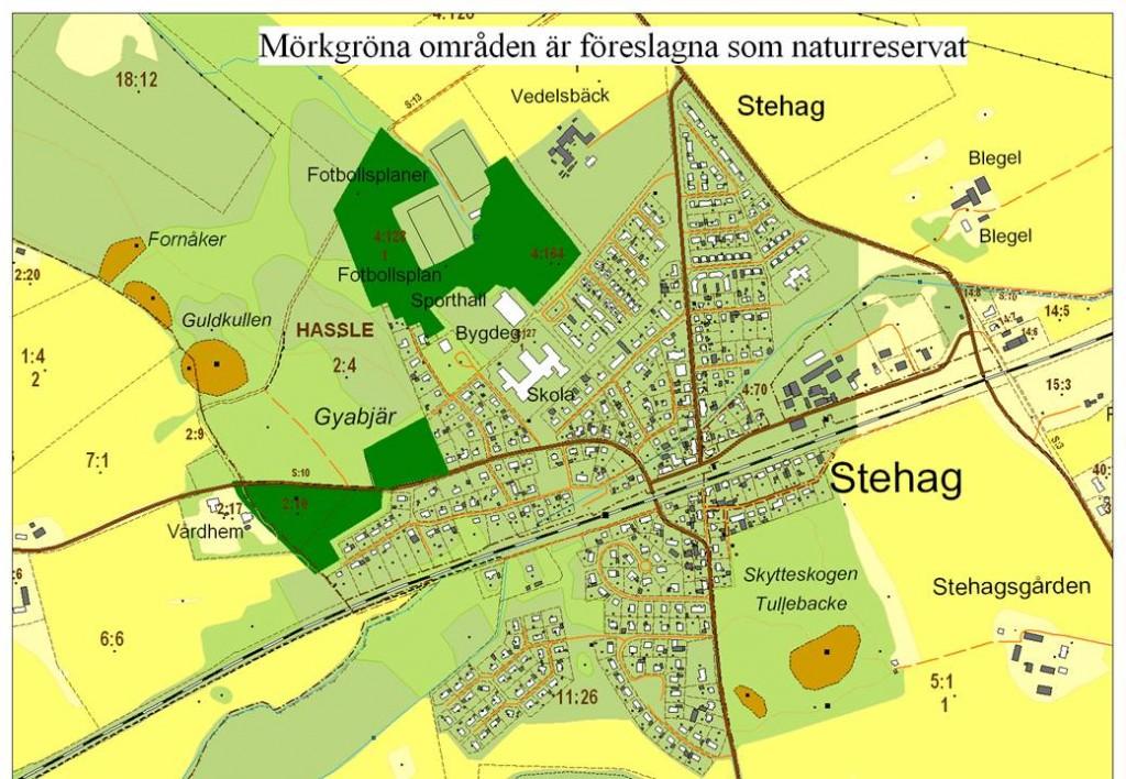 Områden som eventuellt kan bli naturreservat i Stehag