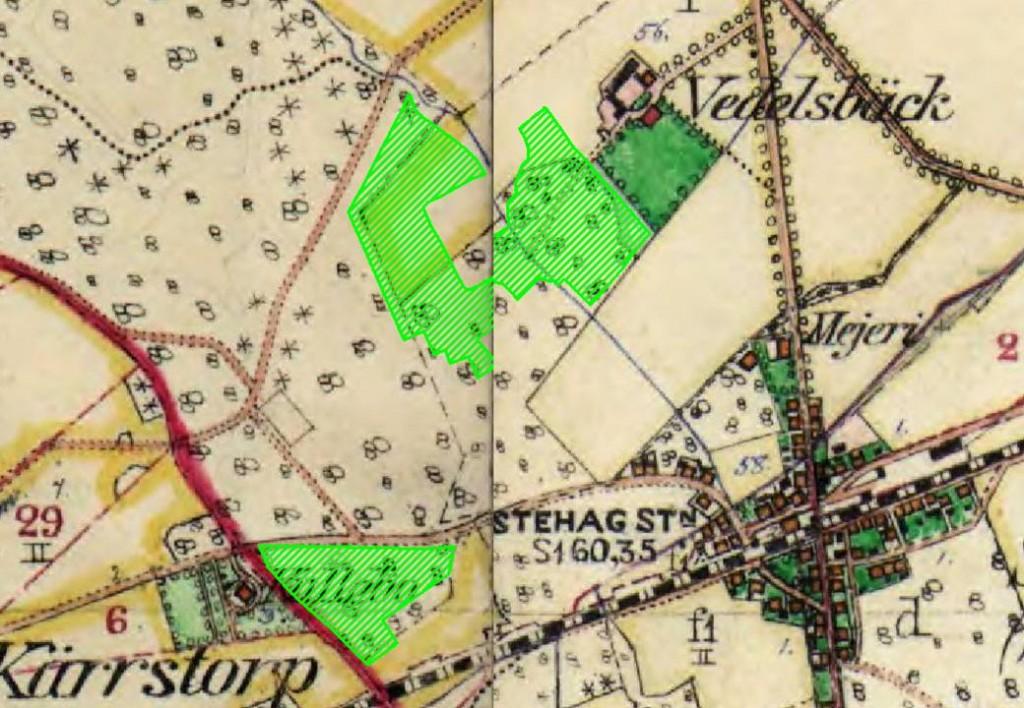 Karta över Stehag samhälle i början av nittonhundratalet